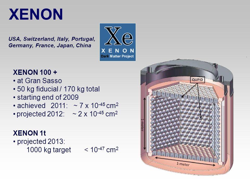 XENON XENON 100 + at Gran Sasso 50 kg fiducial / 170 kg total