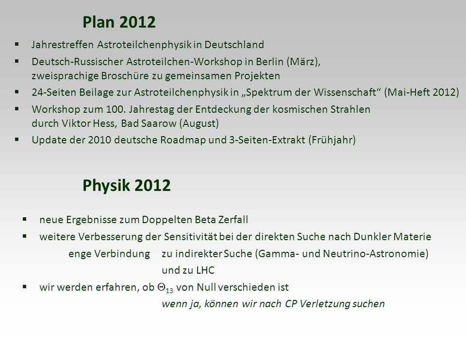 Plan 2012 Physik 2012 Jahrestreffen Astroteilchenphysik in Deutschland