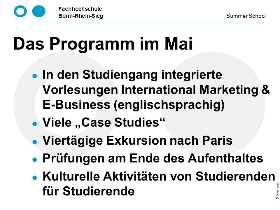 Das Programm im Mai In den Studiengang integrierte Vorlesungen International Marketing & E-Business (englischsprachig)