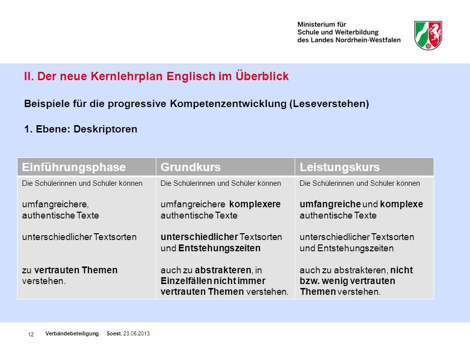 II. Der neue Kernlehrplan Englisch im Überblick Beispiele für die progressive Kompetenzentwicklung (Leseverstehen) 1. Ebene: Deskriptoren