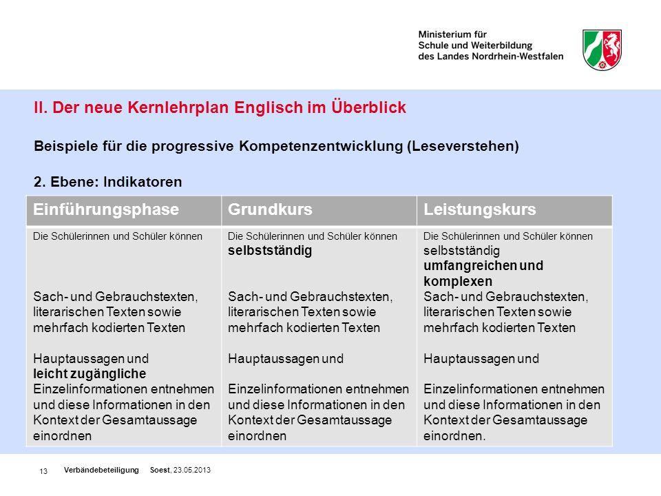 II. Der neue Kernlehrplan Englisch im Überblick Beispiele für die progressive Kompetenzentwicklung (Leseverstehen) 2. Ebene: Indikatoren