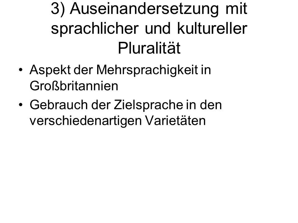 3) Auseinandersetzung mit sprachlicher und kultureller Pluralität