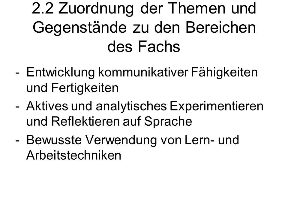 2.2 Zuordnung der Themen und Gegenstände zu den Bereichen des Fachs