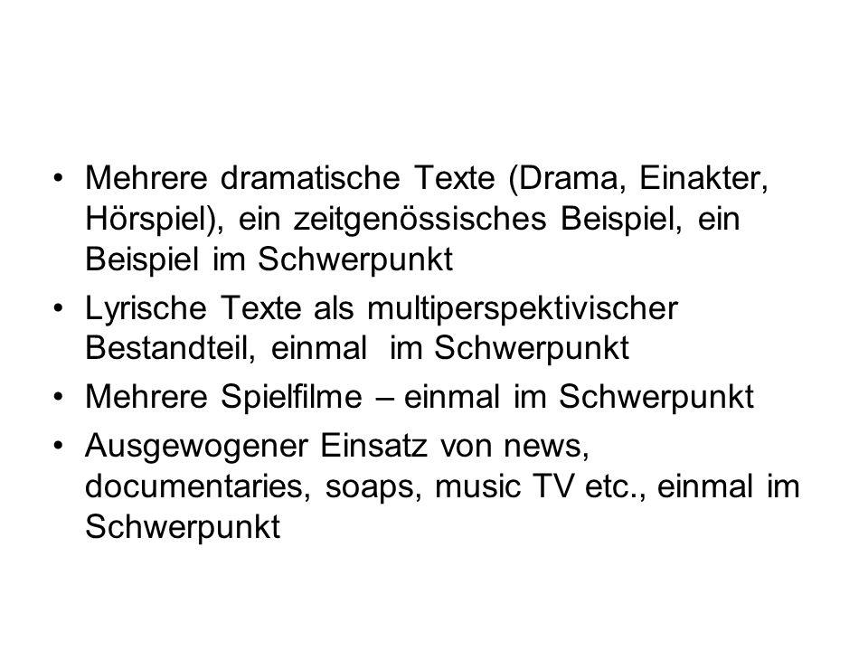 Mehrere dramatische Texte (Drama, Einakter, Hörspiel), ein zeitgenössisches Beispiel, ein Beispiel im Schwerpunkt