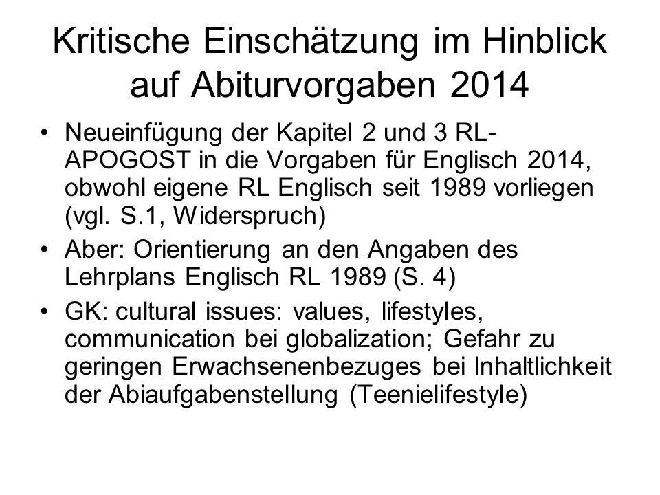 Kritische Einschätzung im Hinblick auf Abiturvorgaben 2014