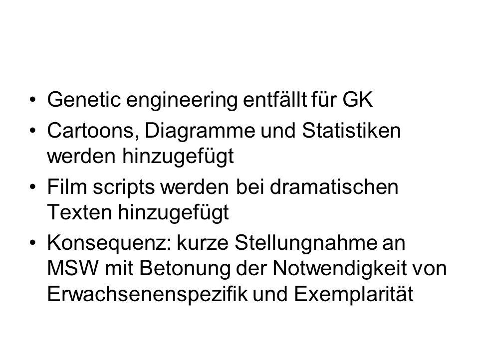 Genetic engineering entfällt für GK