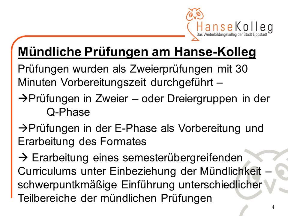 Mündliche Prüfungen am Hanse-Kolleg