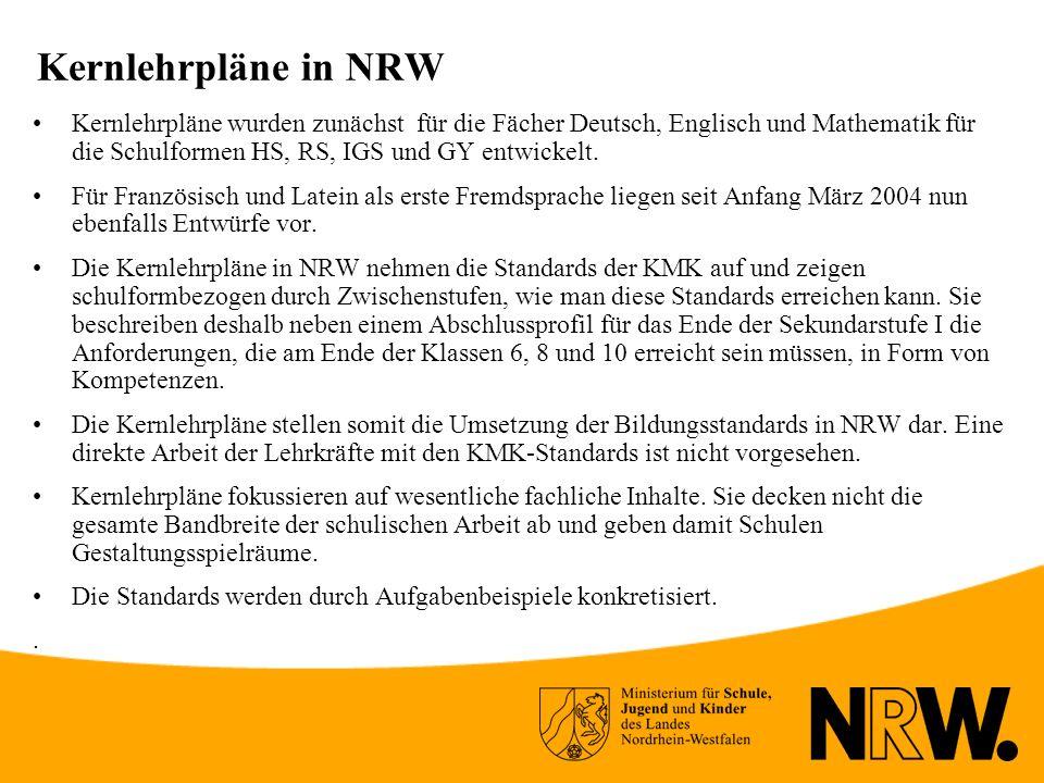 Kernlehrpläne in NRW
