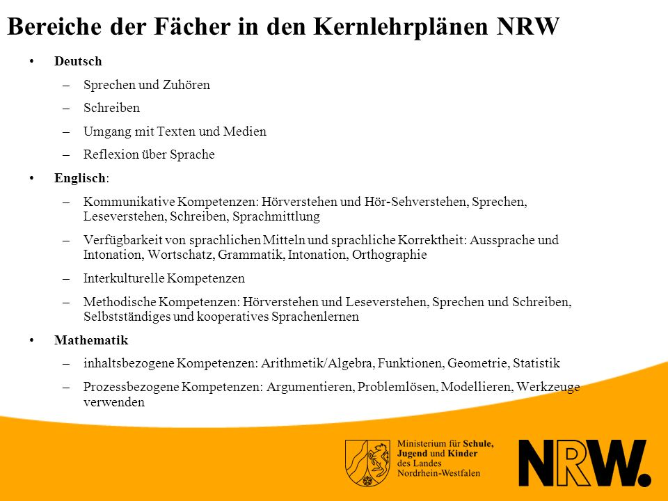 Bereiche der Fächer in den Kernlehrplänen NRW