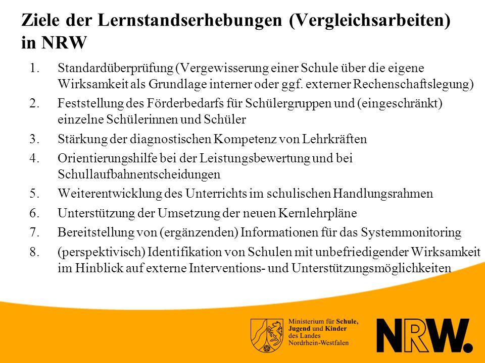 Ziele der Lernstandserhebungen (Vergleichsarbeiten) in NRW