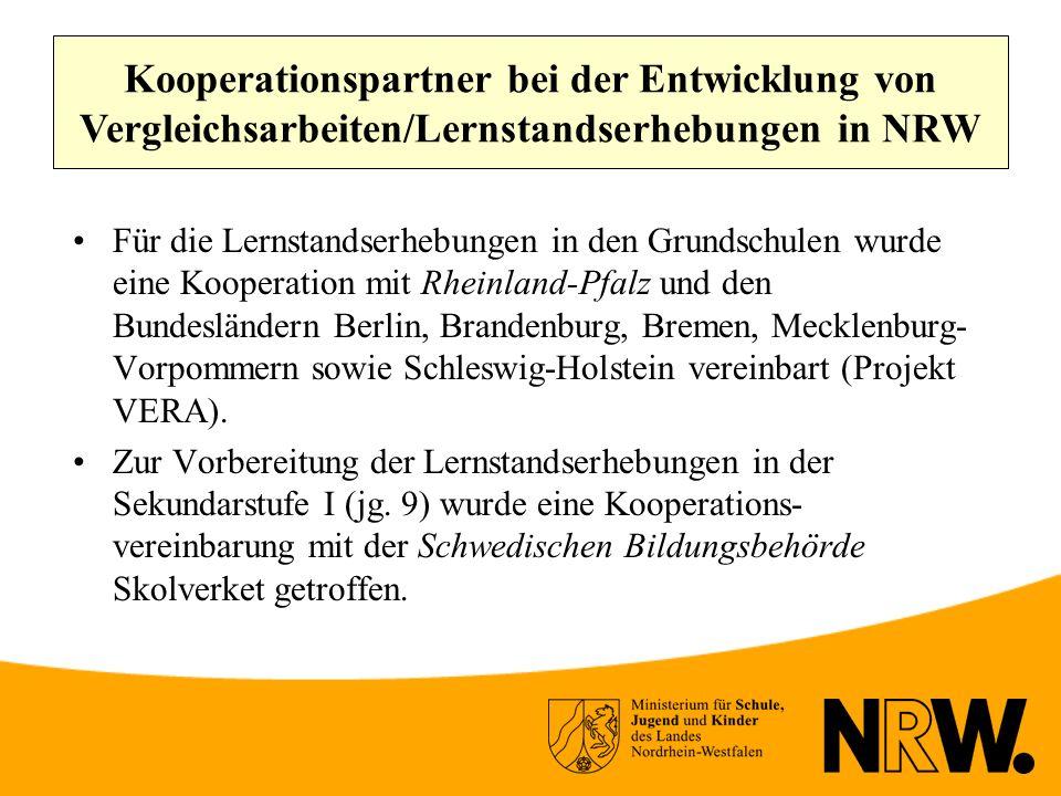 Kooperationspartner bei der Entwicklung von Vergleichsarbeiten/Lernstandserhebungen in NRW