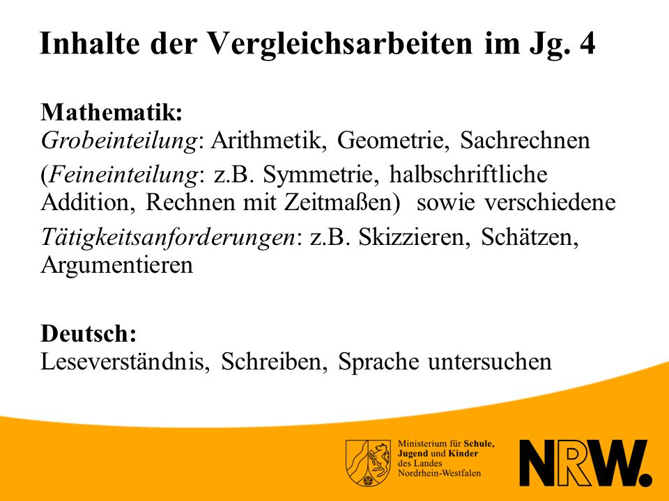 Inhalte der Vergleichsarbeiten im Jg. 4