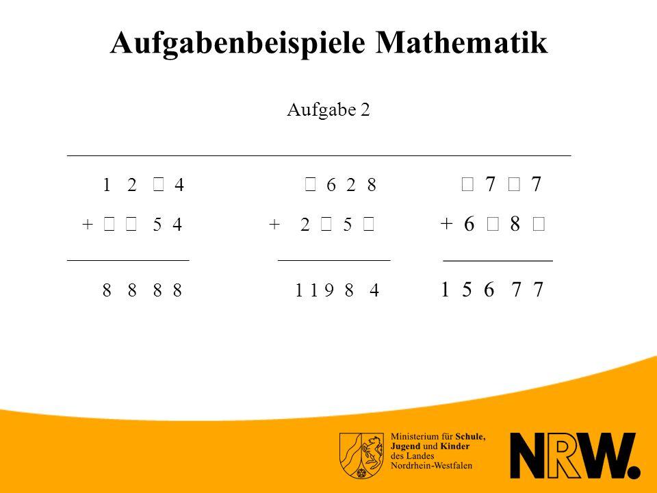 Aufgabenbeispiele Mathematik