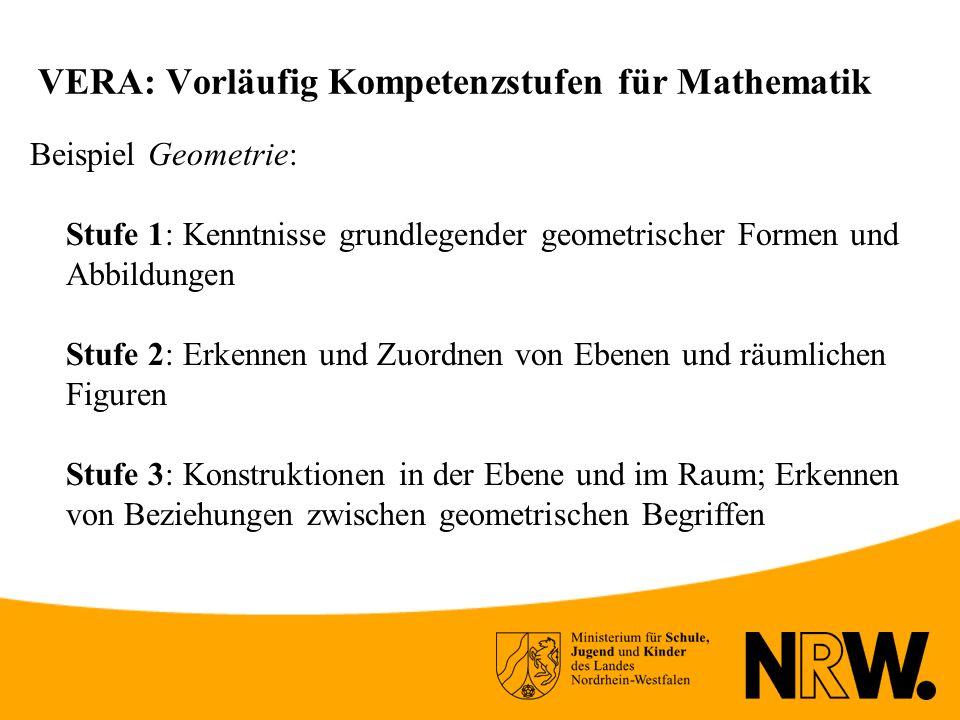 VERA: Vorläufig Kompetenzstufen für Mathematik