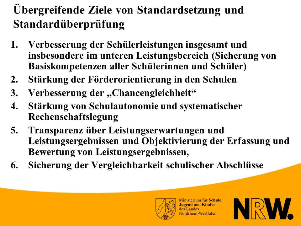 Übergreifende Ziele von Standardsetzung und Standardüberprüfung