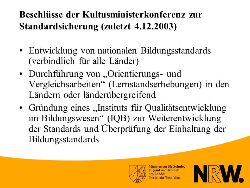 Beschlüsse der Kultusministerkonferenz zur Standardsicherung (zuletzt 4.12.2003)