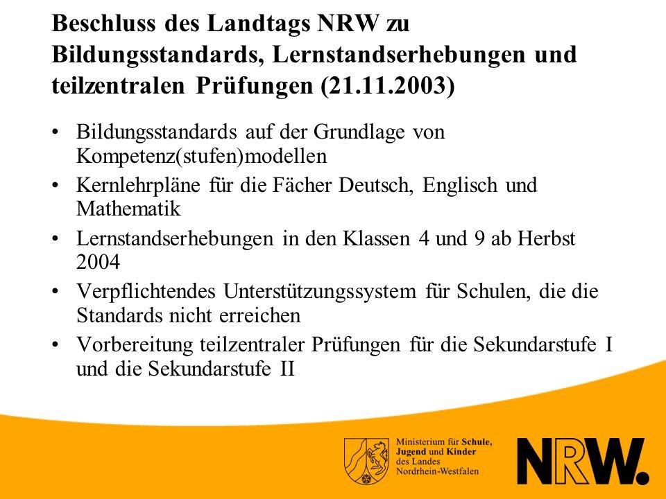 Beschluss des Landtags NRW zu Bildungsstandards, Lernstandserhebungen und teilzentralen Prüfungen (21.11.2003)