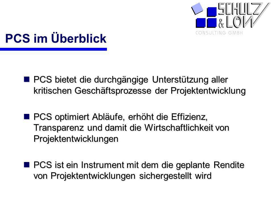 PCS im ÜberblickPCS bietet die durchgängige Unterstützung aller kritischen Geschäftsprozesse der Projektentwicklung.