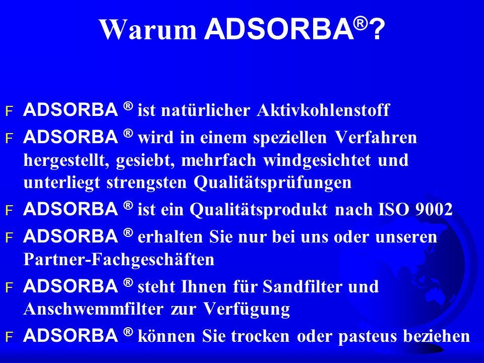 Warum ADSORBA® ADSORBA ® ist natürlicher Aktivkohlenstoff