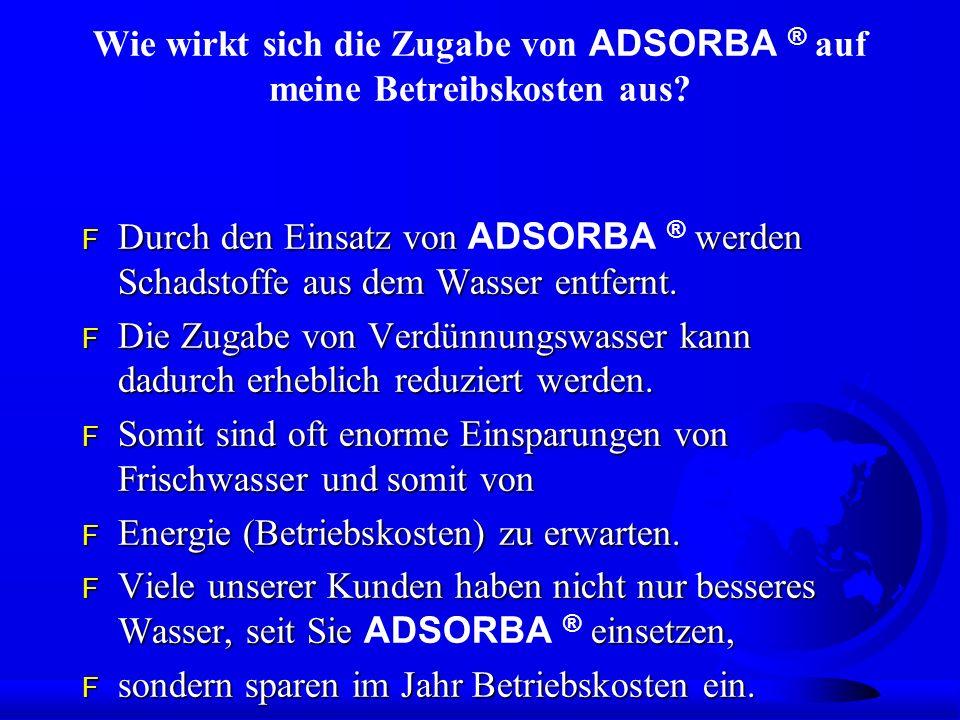 Wie wirkt sich die Zugabe von ADSORBA ® auf meine Betreibskosten aus