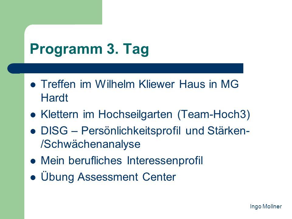 Programm 3. Tag Treffen im Wilhelm Kliewer Haus in MG Hardt