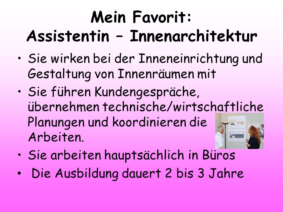 Mein Favorit: Assistentin – Innenarchitektur