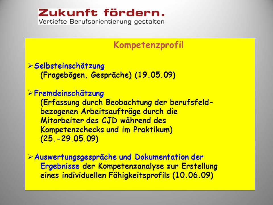 Kompetenzprofil Selbsteinschätzung (Fragebögen, Gespräche) (19.05.09)