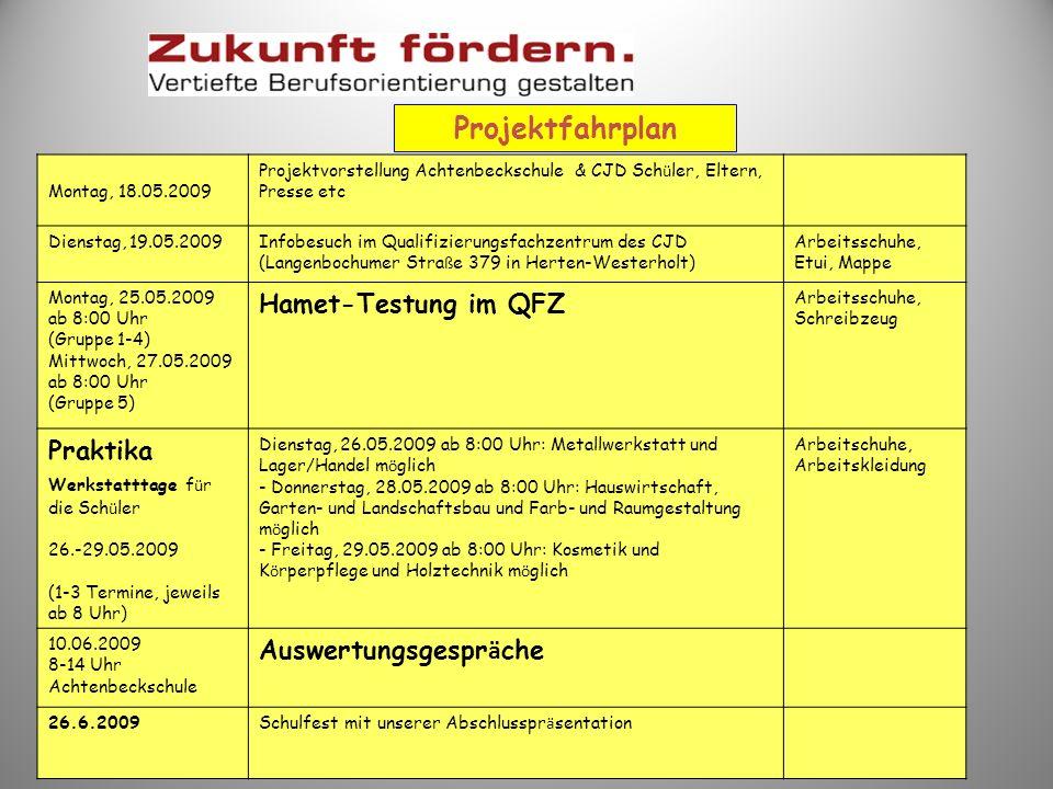 Projektfahrplan Hamet-Testung im QFZ Praktika Auswertungsgespräche