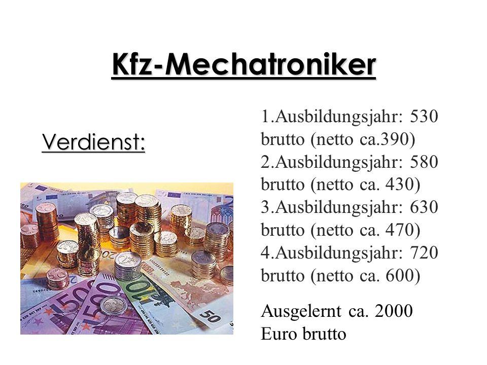 Kfz-Mechatroniker Verdienst: