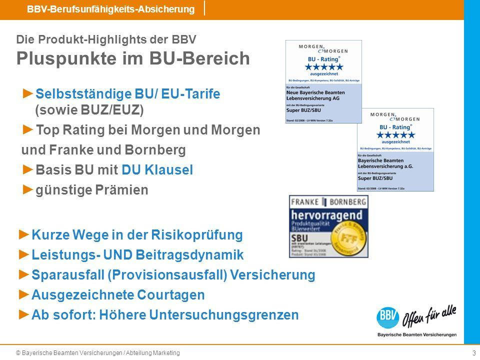 Die Produkt-Highlights der BBV Pluspunkte im BU-Bereich