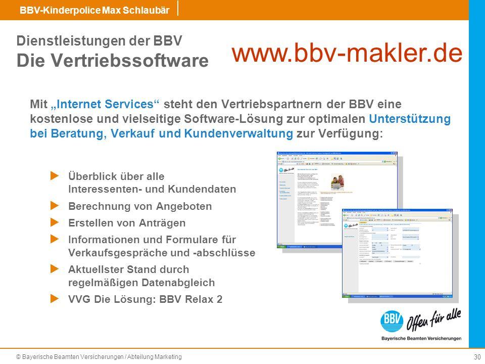 Dienstleistungen der BBV Die Vertriebssoftware