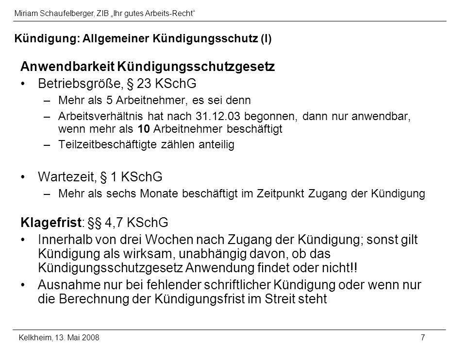 Kündigung: Allgemeiner Kündigungsschutz (I)