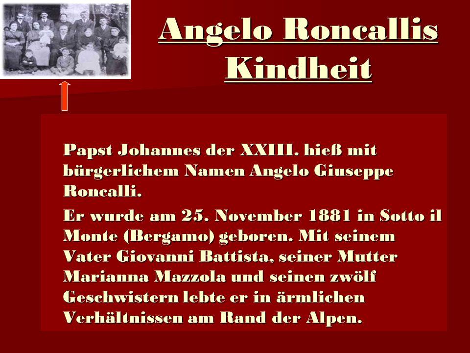 Angelo Roncallis Kindheit