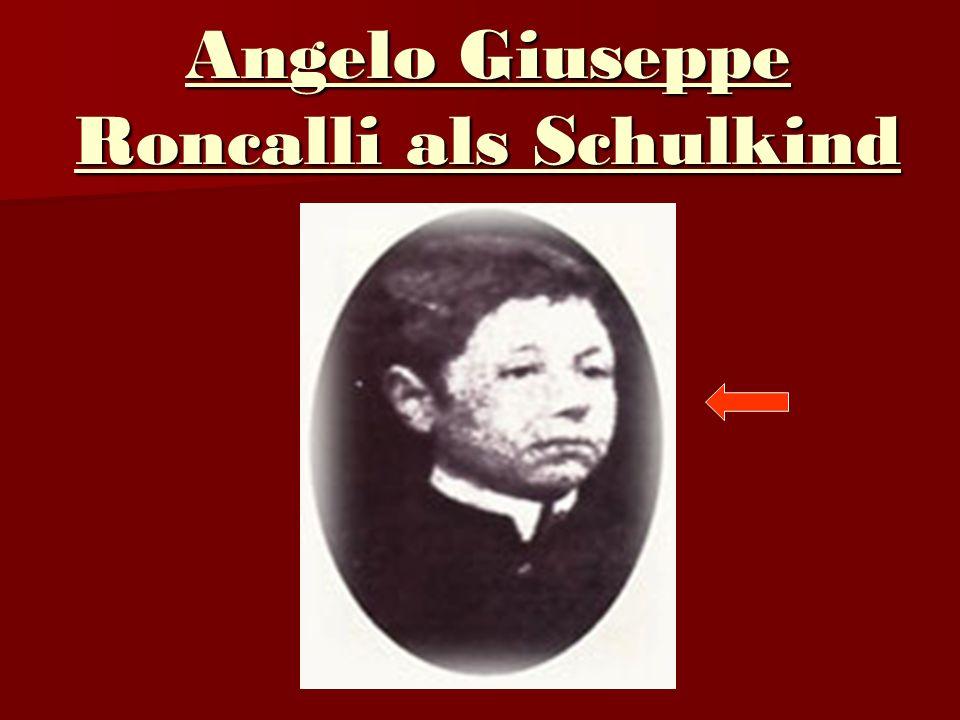 Angelo Giuseppe Roncalli als Schulkind