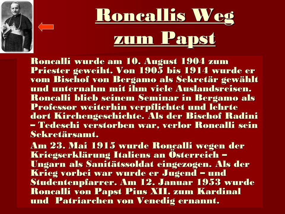 Roncallis Weg zum Papst