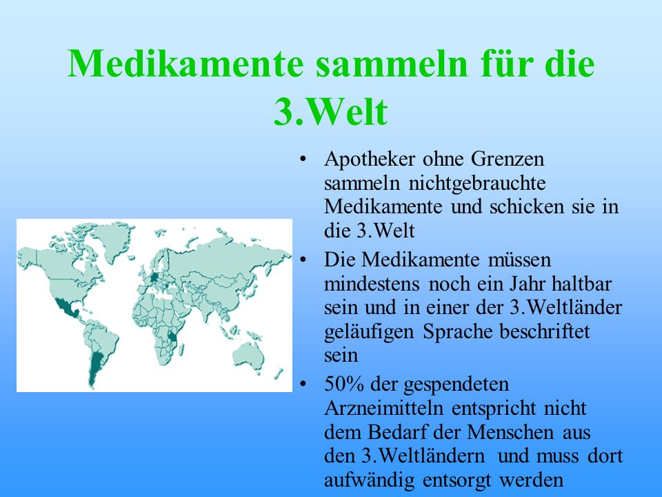 Medikamente sammeln für die 3.Welt