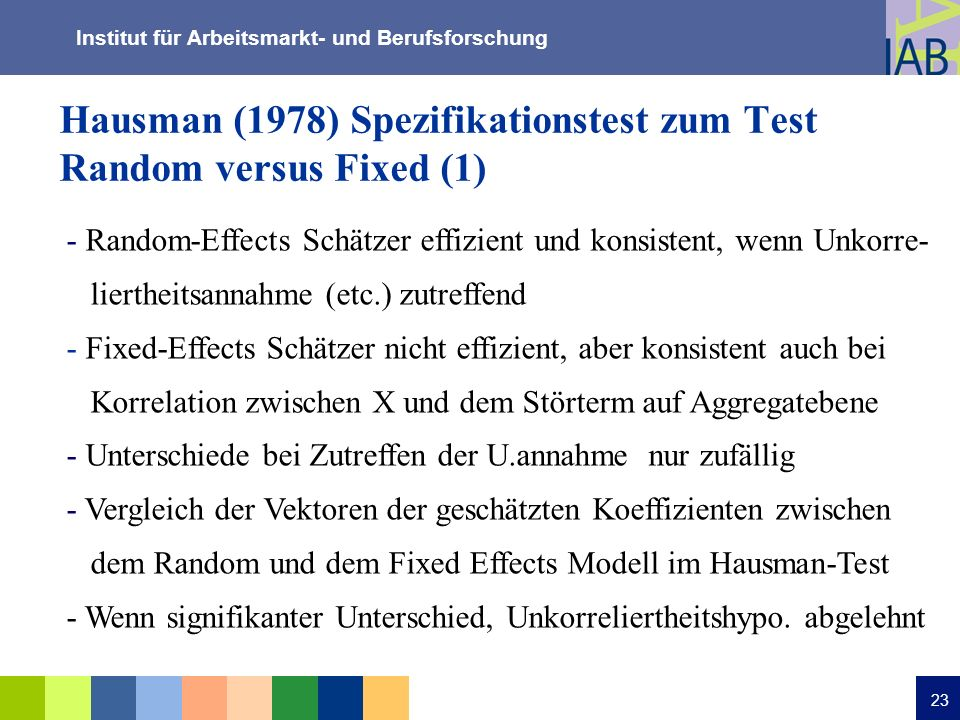 Hausman (1978) Spezifikationstest zum Test Random versus Fixed (1)