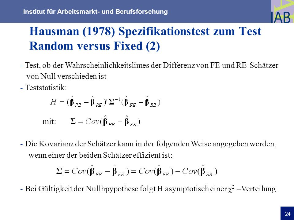 Hausman (1978) Spezifikationstest zum Test Random versus Fixed (2)