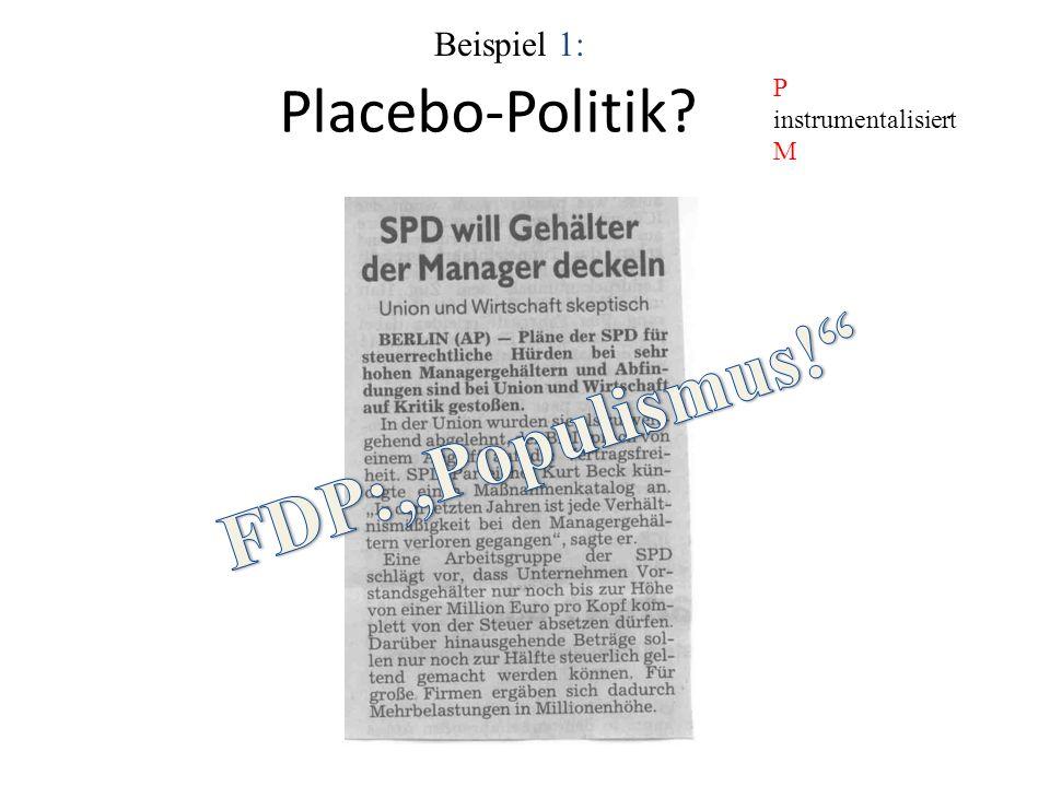 """Beispiel 1: Placebo-Politik P instrumentalisiert M FDP:""""Populismus!"""
