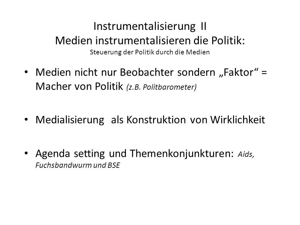 Instrumentalisierung II Medien instrumentalisieren die Politik: Steuerung der Politik durch die Medien