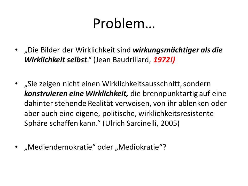 """Problem… """"Die Bilder der Wirklichkeit sind wirkungsmächtiger als die Wirklichkeit selbst. (Jean Baudrillard, 1972!)"""