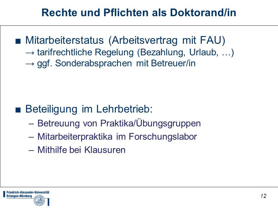 Rechte und Pflichten als Doktorand/in