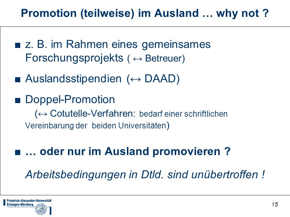 Promotion (teilweise) im Ausland … why not