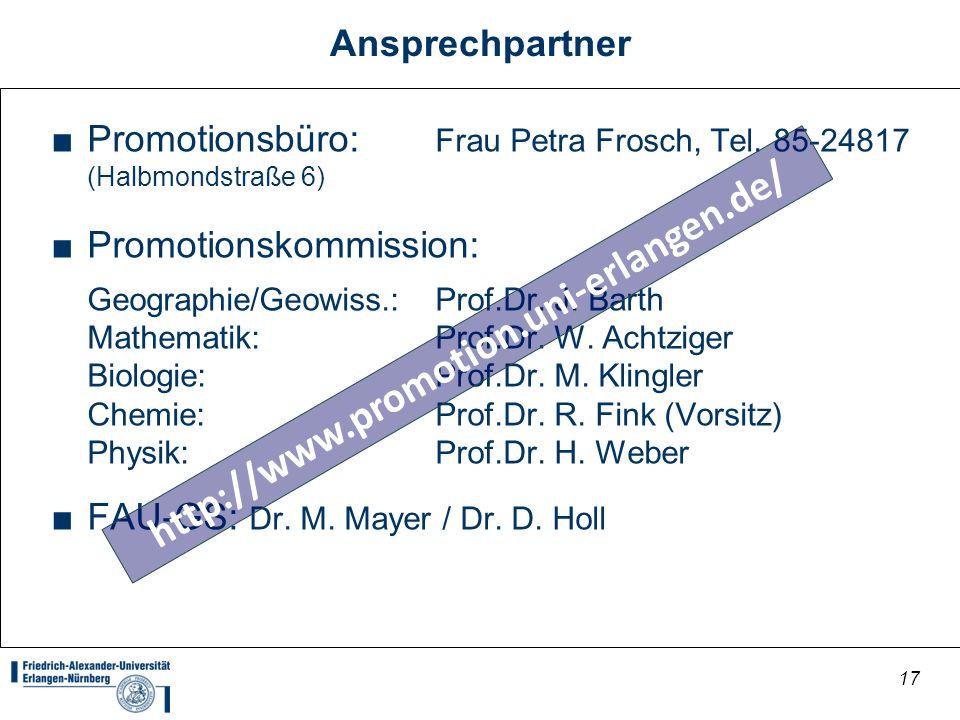 http://www.promotion.uni-erlangen.de/ Ansprechpartner