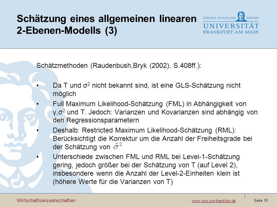 Schätzung eines allgemeinen linearen 2-Ebenen-Modells (3)