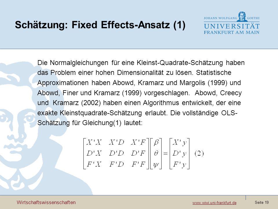 Schätzung: Fixed Effects-Ansatz (1)
