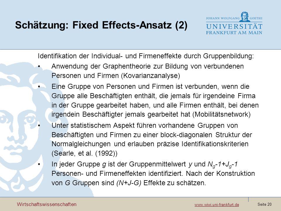 Schätzung: Fixed Effects-Ansatz (2)