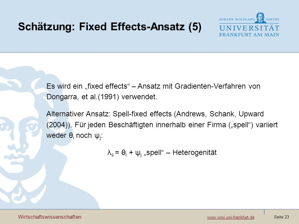 Schätzung: Fixed Effects-Ansatz (5)