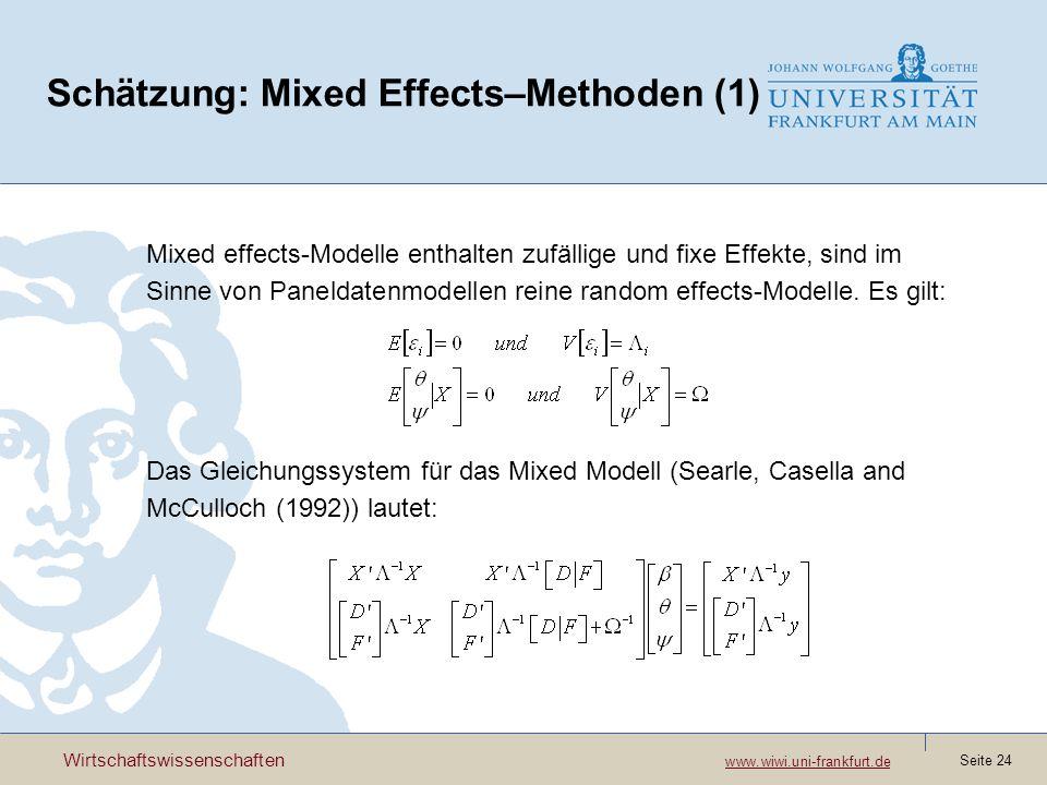 Schätzung: Mixed Effects–Methoden (1)