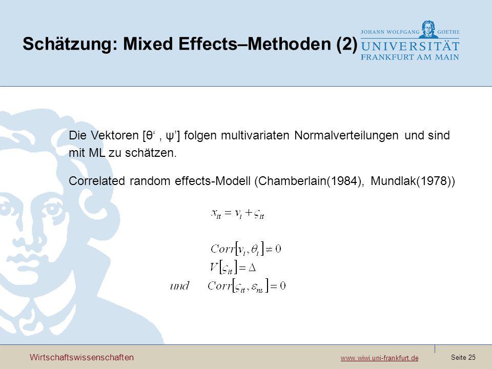 Schätzung: Mixed Effects–Methoden (2)